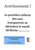 1er collecte des sacs transparents (mardi 18 février 2020)