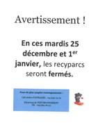 Fermeture des recyparcs les mardis 25 décembre et 1er janvier