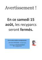 Fermeture des recyparcs - samedi 15 août 2020