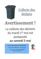 Repport de la collecte des déchets du 1er mai au 5 mai