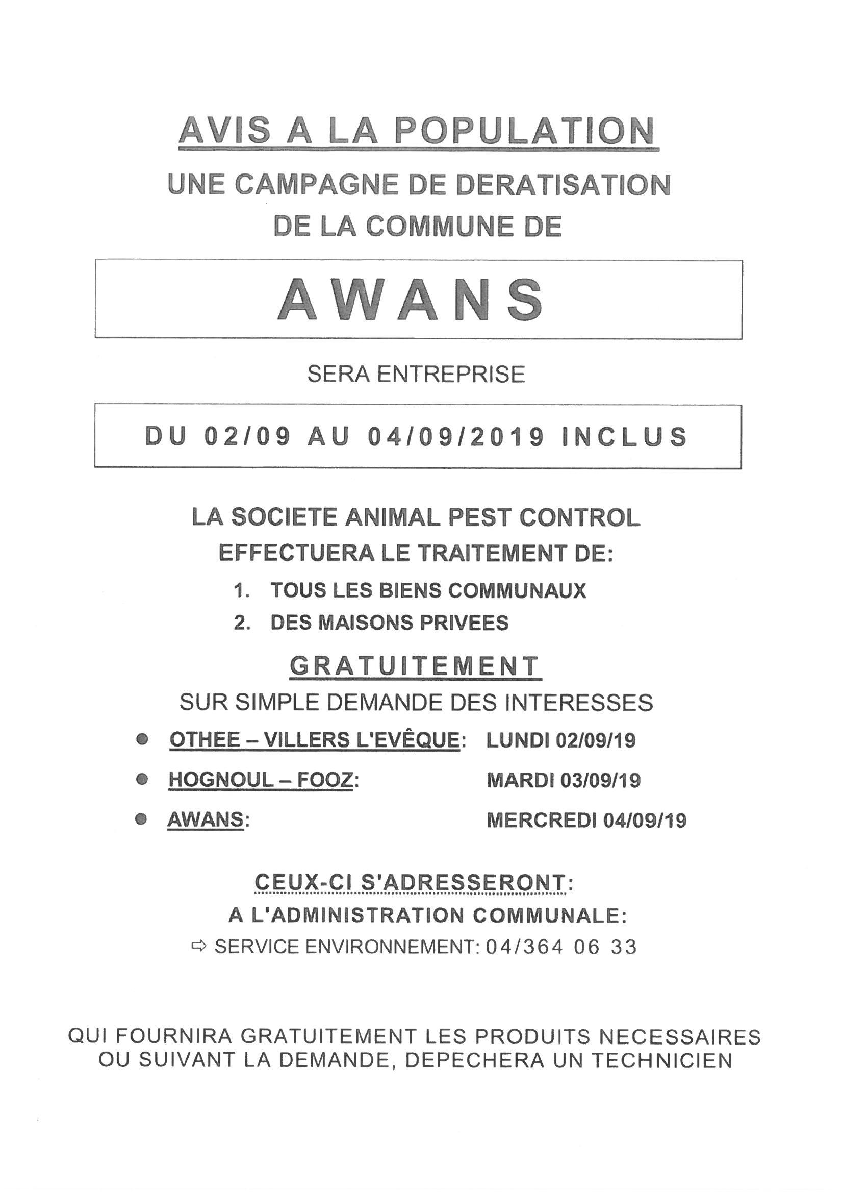 Dératisation automne 2019 - 2, 3 et 4 septembre