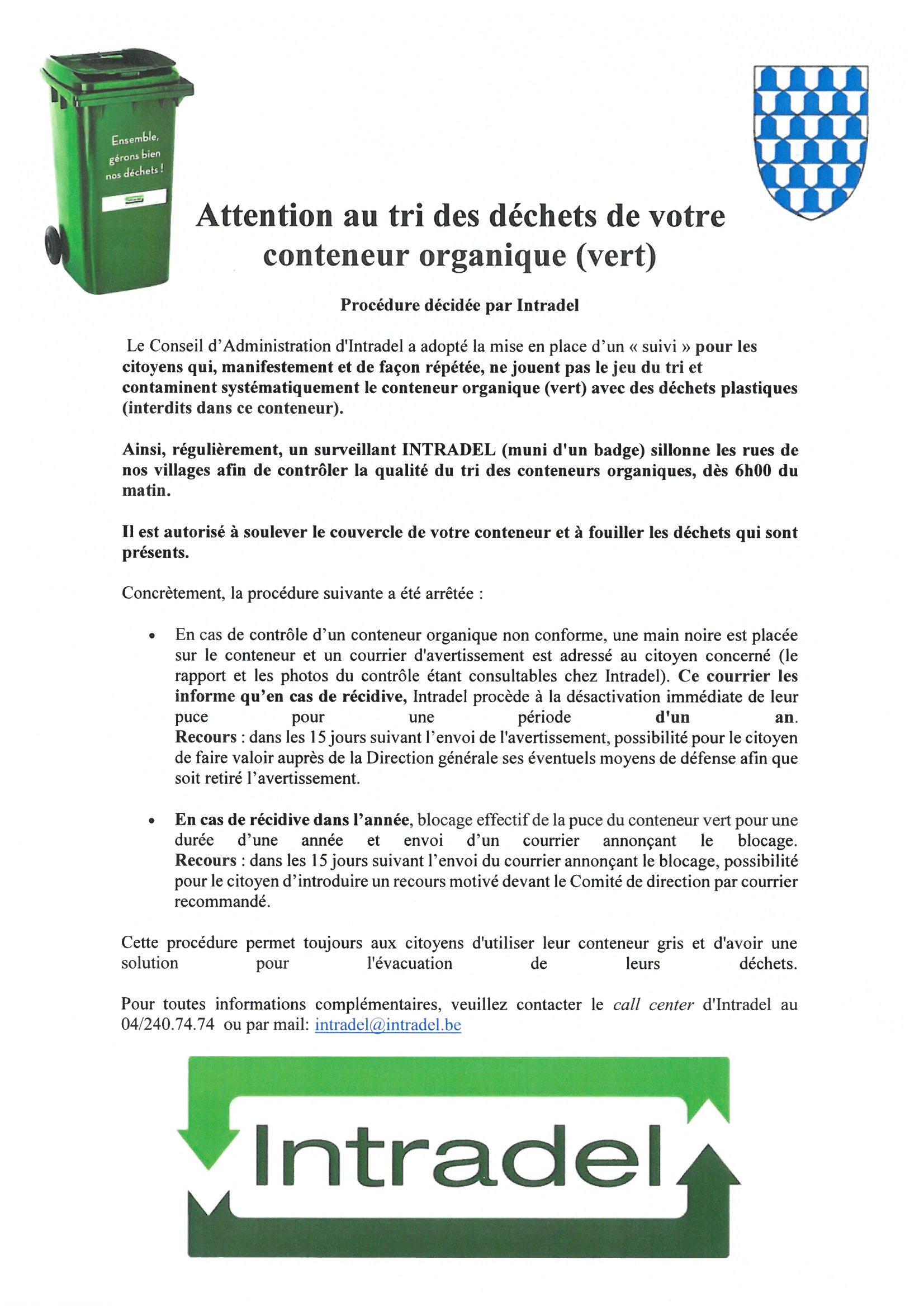 Attention au tri des déchets de votre conteneur organique (vert)
