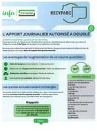 Recyparcs : l'apport journalier a doublé, 1m³ devient 2m³