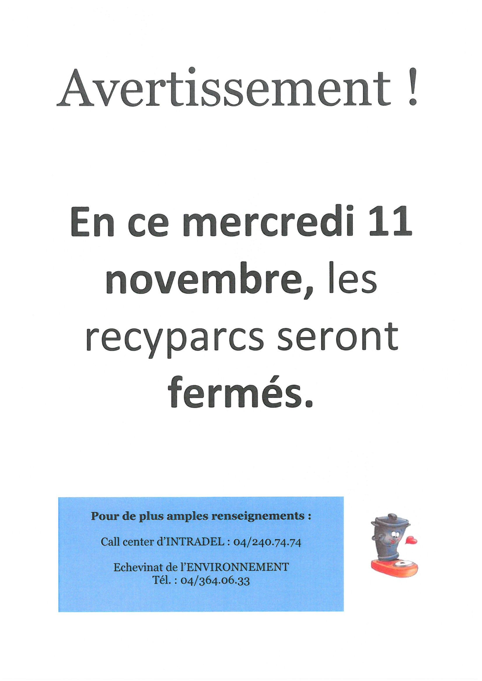 11 novembre - Fermeture des recyparcs