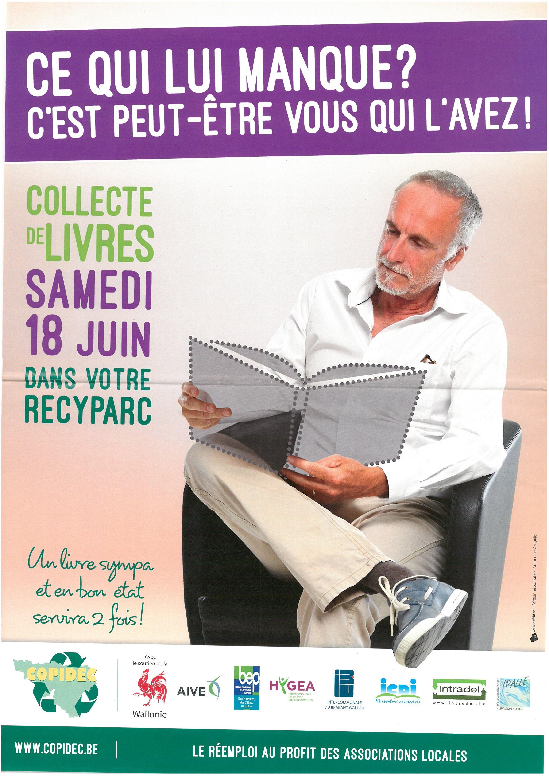18 juin 2016 : collecte de livres en bon état dans les recyparcs