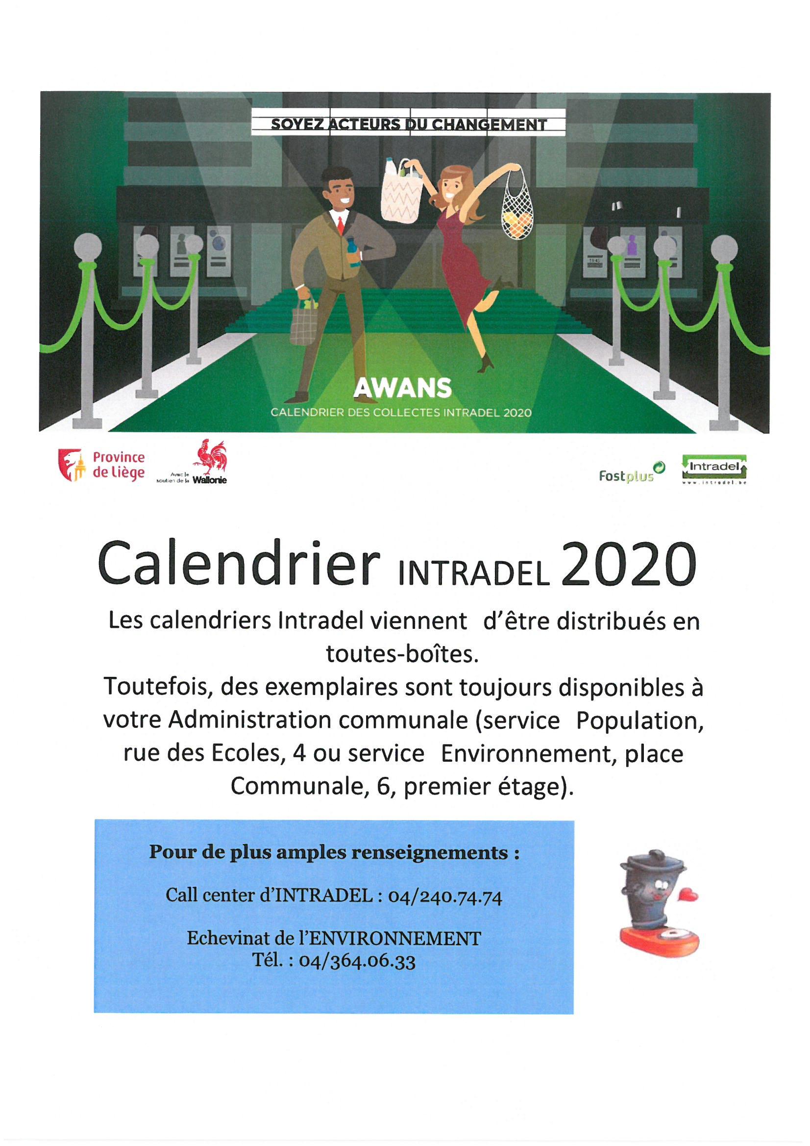 Calendrier INTRADEL 2020