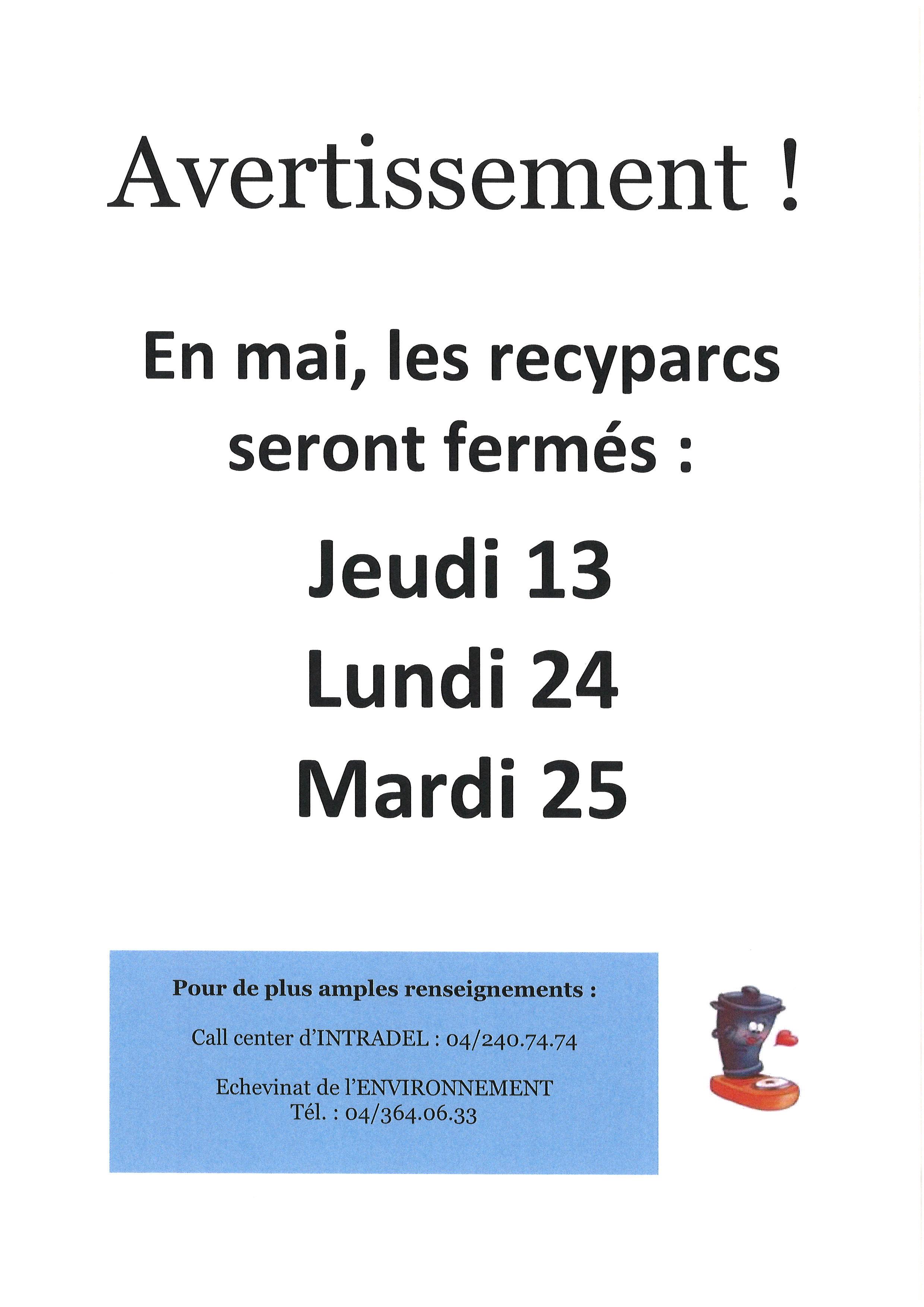 Dates de fermeture des recyparcs - mai 2021