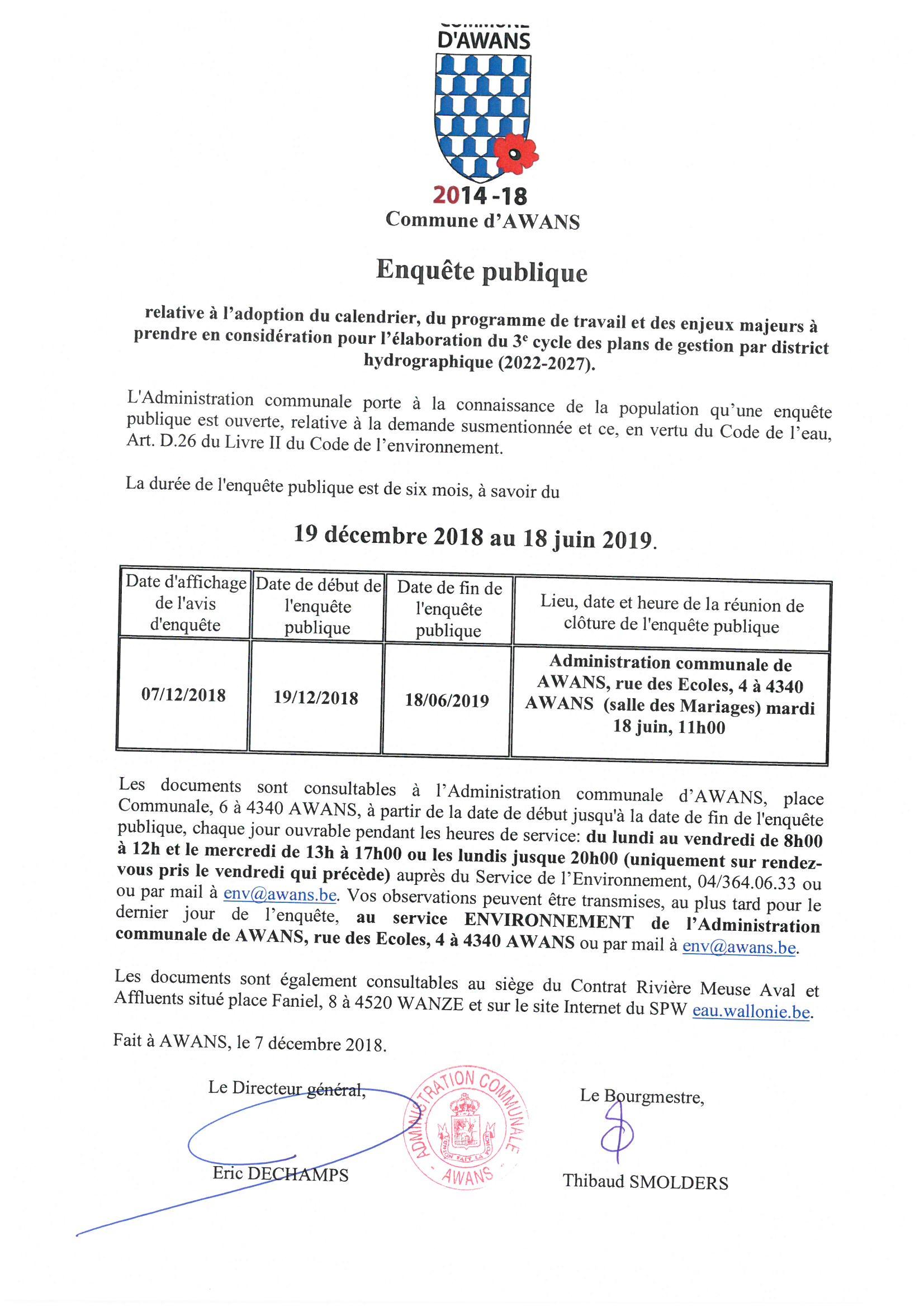 Enquête publique (19 décembre 2018 - 18 juin 2019) dans le cadre de la Directive européenne sur l'eau