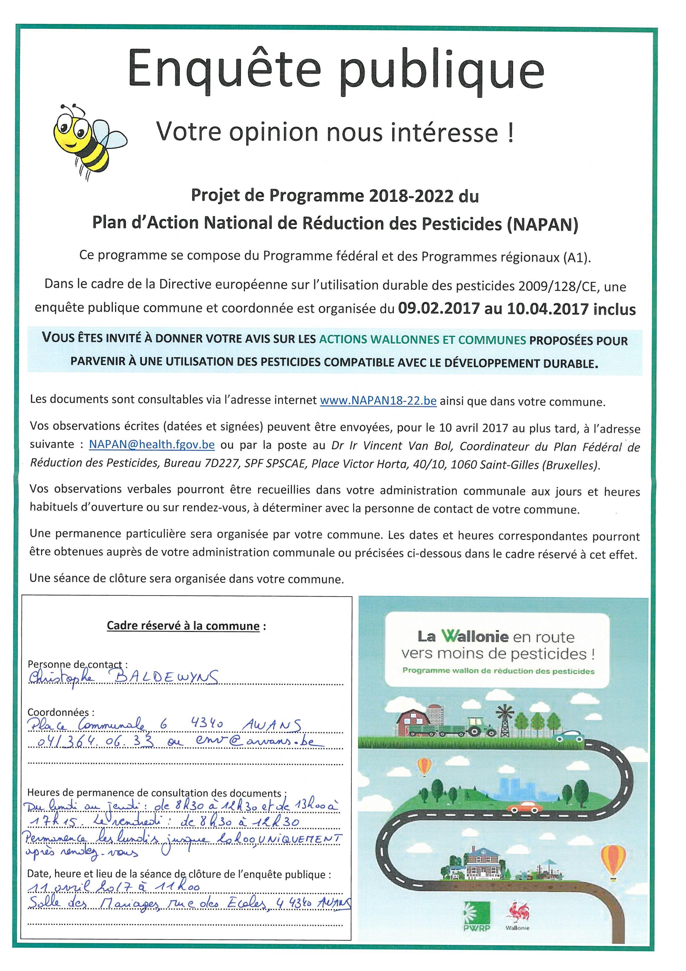 Enquête publique : projet de programme 2018-2022 du Plan d'Action National de Réduction des Pesticides (NAPAN)