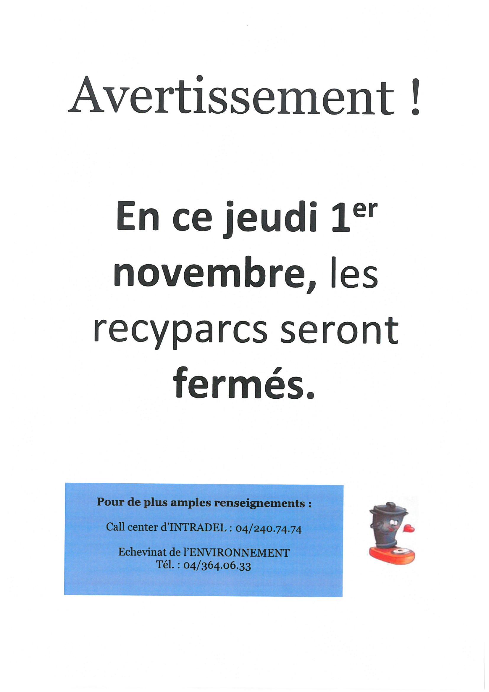 Fermeture des recyparcs ce jeudi 1er novembre