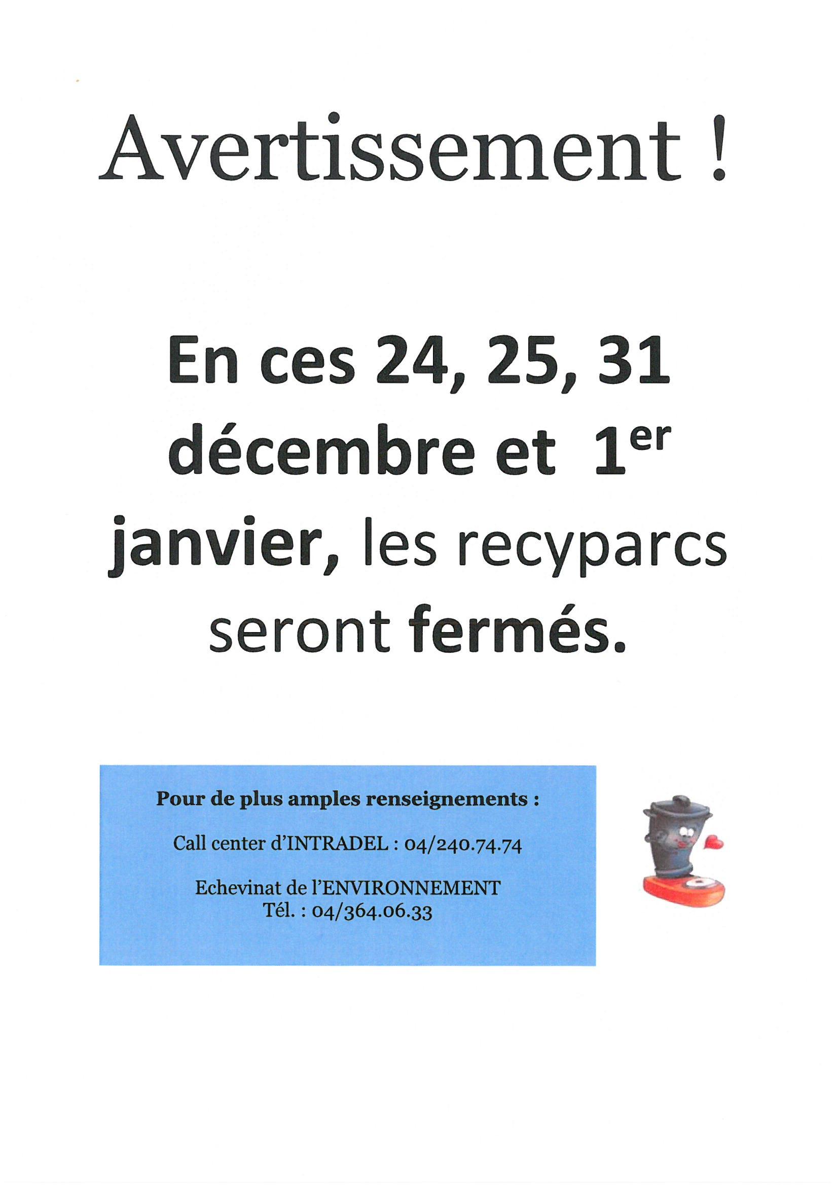 Fermeture des recyparcs durant les fêtes
