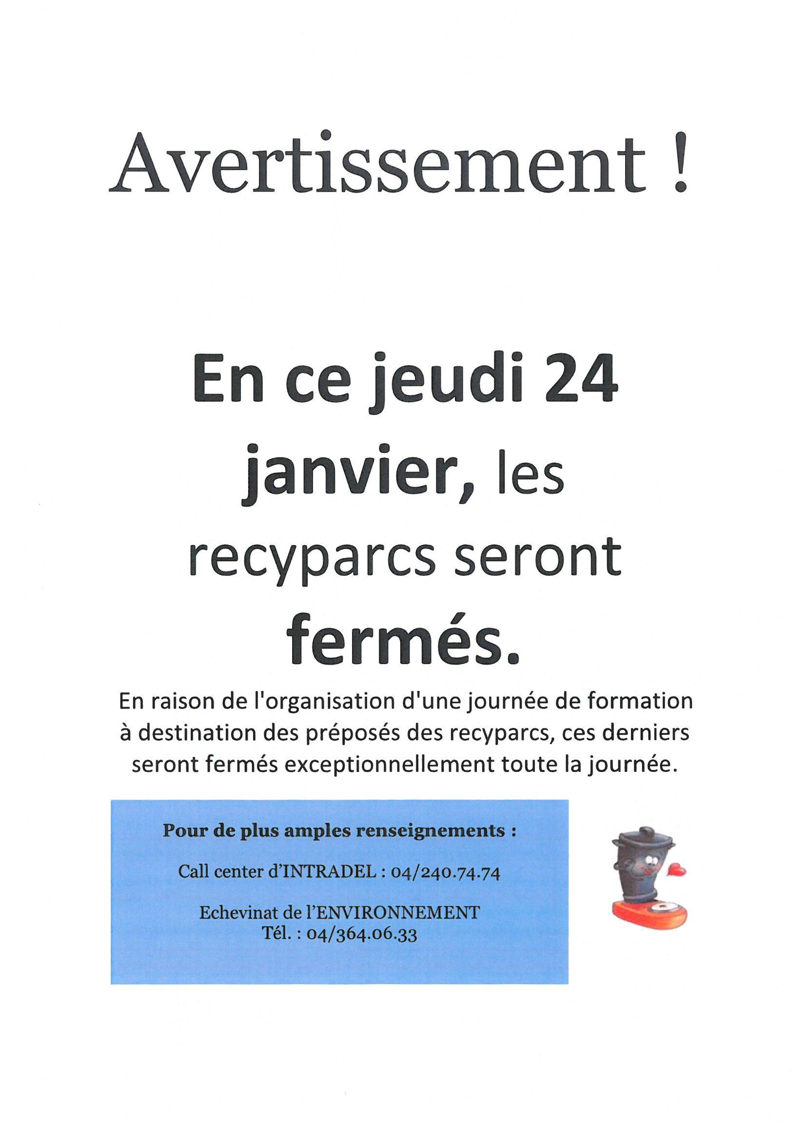 Fermeture des recyparcs le jeudi 24 janvier