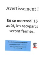 Fermeture des recyparcs le mercredi 15 août 2018