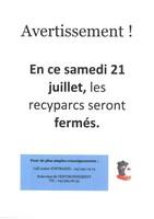 Fermeture des recyparcs le samedi 21 juillet