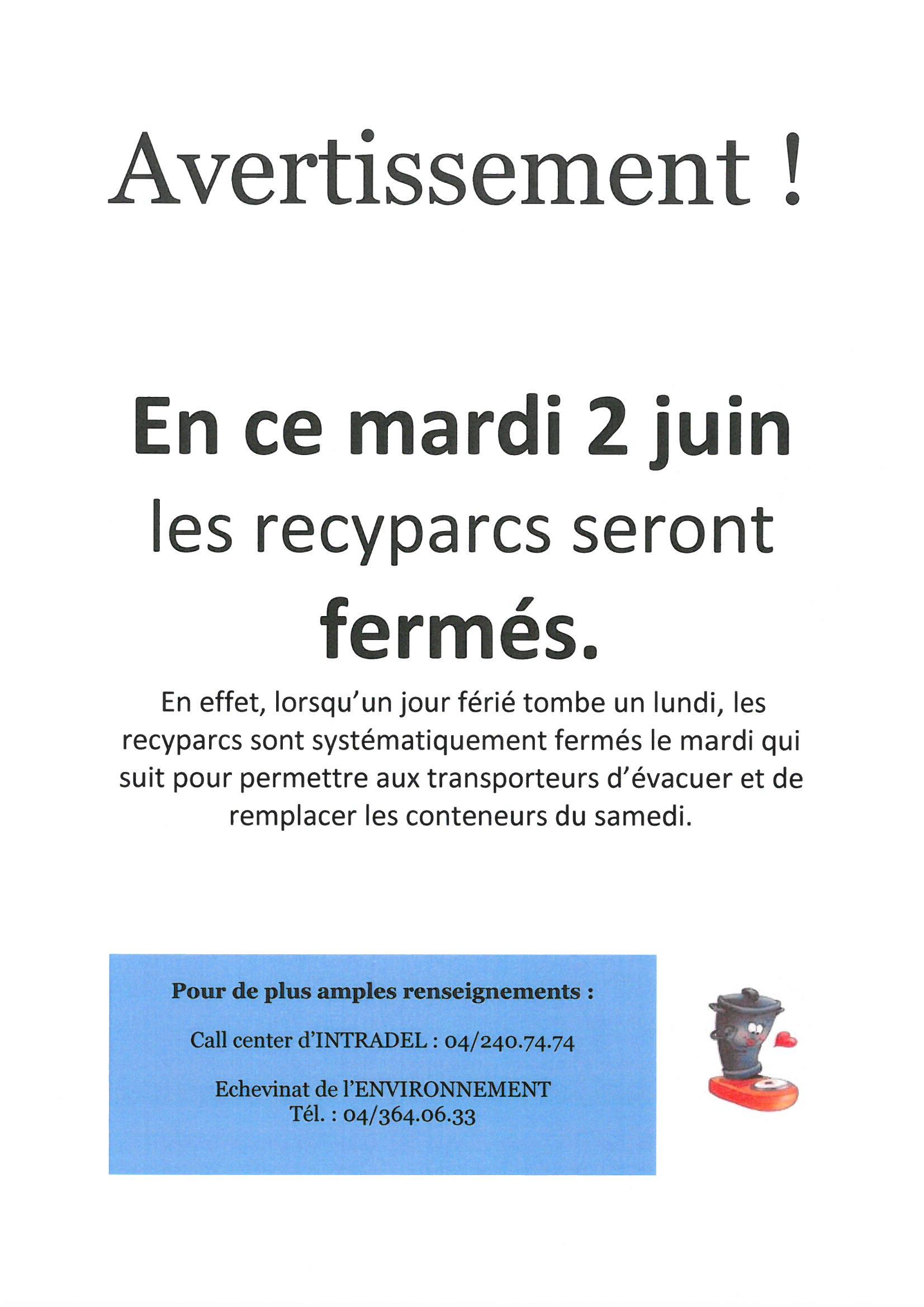 Fermeture des recyparcs - mardi 2 juin 2020
