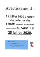 Report des collectes des déchets du 21 juillet au 25 juillet